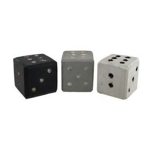 Accents - Set of 3 Primitive Carved Hand Painted Dice Decor